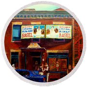 Fairmount Bagel By Montreal Streetscene Painter Carole  Spandau Round Beach Towel