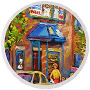 Fairmount Bagel Fairmount Street Montreal Round Beach Towel