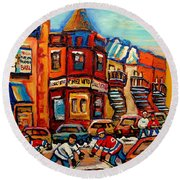 Fairmount Bagel With Hockey Round Beach Towel