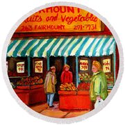 Fairmount Fruit And Vegetables Round Beach Towel