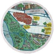 Fairmount Neighborhood Map Round Beach Towel