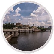 Fairmount Water Works And Philadelphia Museum Of Art Round Beach Towel
