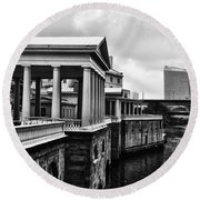 Fairmount Water Works In Black And White Round Beach Towel