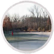 Fairway Hills - 7th - Beware Of The Tree And The Pond Panorama Round Beach Towel