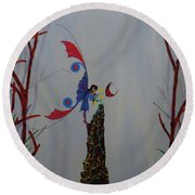Fairy And Butterfly Round Beach Towel