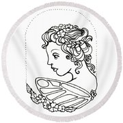 Fairy Cameo Round Beach Towel
