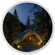 Fairy House In The Forest Moonlit Winter Night Round Beach Towel