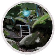 Fairy In The Wood Round Beach Towel
