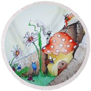 Fairy Mushrooms Round Beach Towel
