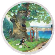 Fairy-tale Pushkin Lukomorye Round Beach Towel