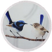 Fairy Wrens - I Love You Too  Round Beach Towel