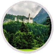 Fairytale Castle Neuschwanstein  Round Beach Towel