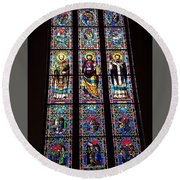 Faith In Stained Glass  Round Beach Towel