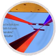 Faith Alone Round Beach Towel