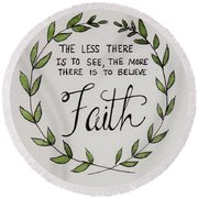 Faith Laurel Wreath Round Beach Towel