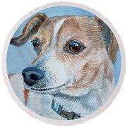 Beloved Dog Commission By Irina Sztukowski  Round Beach Towel