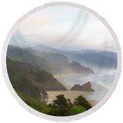 Falcon And Silver Point At Oregon Coast Round Beach Towel