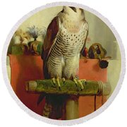 Falcon Round Beach Towel by Sir Edwin Landseer