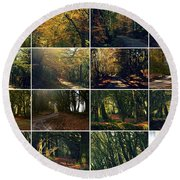 Fall - A Montage Round Beach Towel