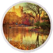 Fall Afternoon In Central Park Round Beach Towel