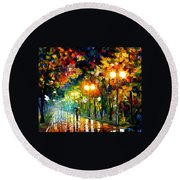 Fall Alley Round Beach Towel