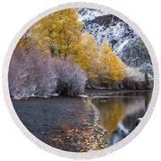Fall And Winter At Silver Lake Round Beach Towel