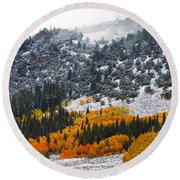 Fall And Winter Collide  Round Beach Towel