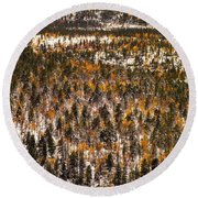 Fall And Winter On The Same Day Round Beach Towel