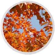 Fall Art Prints Orange Autumn Leaves Baslee Troutman Round Beach Towel