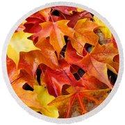Fall Art Prints Red Orange Yellow Autumn Leaves Baslee Troutman Round Beach Towel