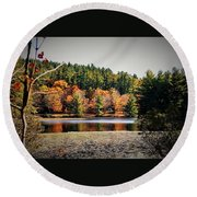Fall At Bass Lake Round Beach Towel