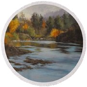Fall At Colliding Rivers Round Beach Towel