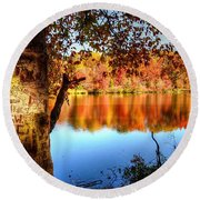 Fall At Lake Round Beach Towel