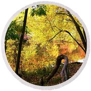 Fall At Lincoln Lake	 Round Beach Towel