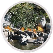 Fall At The Creek Round Beach Towel