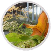 Fall At The River Round Beach Towel