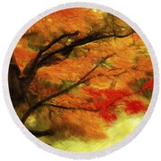 Fall At The Temple Round Beach Towel