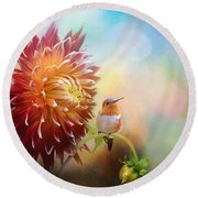 Fall Beauty In The Garden Round Beach Towel