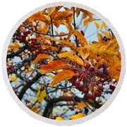 Fall Berries Round Beach Towel