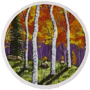 Fall Birch Trees Painting Round Beach Towel