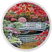 Fall Bridge In Manito Park Round Beach Towel by Carol Groenen