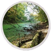 Fall By A River Round Beach Towel