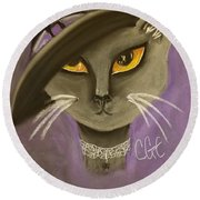 Fall Cat Round Beach Towel