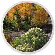 Fall Color Comes To Dillon Reservoir Round Beach Towel