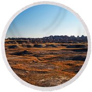 Fall Color In The Badlands Round Beach Towel