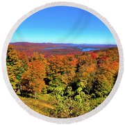 Fall Color On The Fulton Chain Of Lakes Round Beach Towel