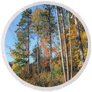 Fall Colors Along The Norway Beach Loop Round Beach Towel