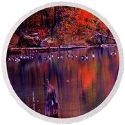 Fall Colors And Geese Round Beach Towel