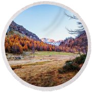 Fall Colors At Alpe Devero Round Beach Towel