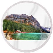 Fall Colors At Lake Louise Alberta  Round Beach Towel